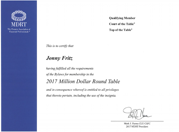 MDRT Certification for Jon Fritz